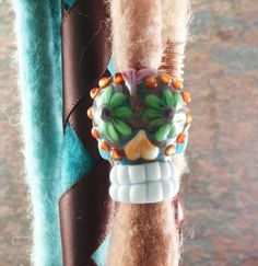 Sugar Skull Day of the Dead Dread Bead  OR Focal by flamekeeper, $35.00
