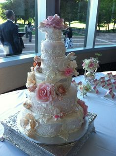 Other / Mixed Shaped Wedding Cakes - Vintage Lace and Flower Wedding Cake