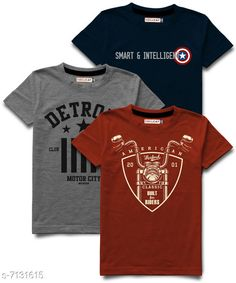 Tshirts & Polos Hellcat stylish Boys Round Neck Tshirts Pack of 3 Fabric: Cotton Blend Sleeve Length: Short Sleeves Pattern: Printed Multipack: Pack of 3 Sizes:  5-6 Years (Chest Size: 13 in, Length Size: 19 in)  15-16 Years (Chest Size: 18 in, Length Size: 26.5 in)  13-14 Years (Chest Size: 17 in, Length Size: 25 in)  1-2 Years (Chest Size: 11 in, Length Size: 17 in)  11-12 Years (Chest Size: 16 in, Length Size: 23 in)  3-4 Years (Chest Size: 12 in, Length Size: 18 in)  9-10 Years (Chest Size: 15 in, Length Size: 21.5 in)  7-8 Years (Chest Size: 14 in, Length Size: 20.5 in) Sizes Available: 3-4 Years, 5-6 Years, 7-8 Years, 9-10 Years, 11-12 Years, 13-14 Years, 15-16 Years, 1-2 Years *Proof of Safe Delivery! Click to know on Safety Standards of Delivery Partners- https://ltl.sh/y_nZrAV3  Catalog Rating: ★4.2 (9813)  Catalog Name: Tinkle Comfy Boys Tshirts CatalogID_1138542 C59-SC1173 Code: 265-7131615-