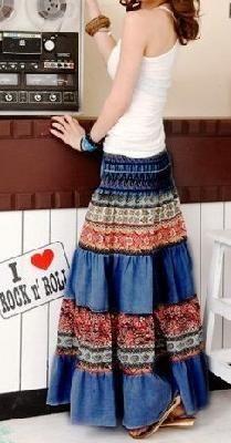 Bohemian Halter/Skirt layered pattern I love this Skirt Patterns Sewing, Clothing Patterns, Skirt Fashion, Boho Fashion, Bohemian Skirt, Recycled Denim, Patchwork Dress, Dress And Heels, Vogue