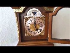 On ebay & FREE POST this Rare Dutch Warmink Green Band Burl Wood Bracket Clock, Moon Phase