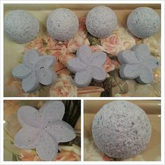 Lavender BATH BOMBS!  U ask..and u shall receive! BATH BOMBS!!!!!   Comes in dome shape and flower shape! approx. 3.7 oz each  Lavender essential oil and beautiful lilac color.  Just drop in your tup under warm running water and watch it go! Luxurious.   Made in smoke-free home, handmade with love <3   Packaged for protection and longevity.  Enjoy!  etsy.com/shop/arminescreations  -Armine