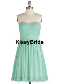 Mint bridesmaid dress - short bridesmaid dress / lace ...
