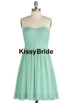 Mint bridesmaid dress - short bridesmaid dress / lace ...