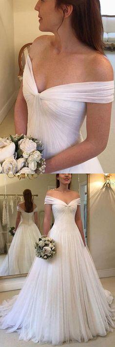 b448c4892e06 Elegant A-line Off the Shoulder Tulle Ivory Long Wedding Dresses