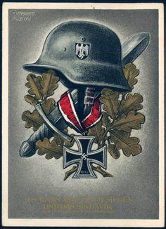 """""""Es kann nur einer siegen und das sind wir"""", """"Adolf Hitler am 8. November 1939, by Gottfried Klein, publisher Verlag Heinrich Hoffmann, Munich, with special postmark."""
