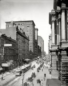 """September 1, 1900. """"Randolph Street east from LaSalle, Chicago."""""""