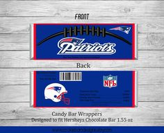 These Football Sports Hershey Candy Bar Wrappers add fun to party favors to match any event. This is a DIGITAL PRINTABLE FILE that is downloaded. No item will be shipped to you.  **To customize this listing to your favorite team, add that information in the notes section upon checkout** Once wrapper is designed I will email finished product to your email provided in Etsy checkout. Turn around time is approximately 24-48 hours. Print as many as you need! (No printed materials will be shipped…