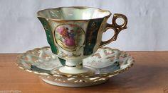 FAN CREST Cup and Saucer porcelain made in JAPAN Fine China Set teacup & Saucer #FanCrest