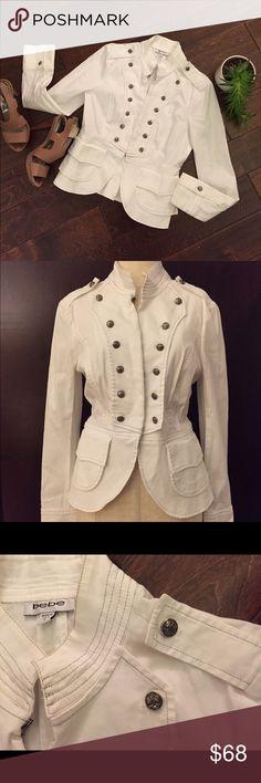 ☎️ White Nautical Blazer by Bebe ☎️ Gorgeous white with light Brian stitching throughout nautical blazer. Hook-n-eye closure. Fabulous condition. Size bebe Jackets & Coats Blazers