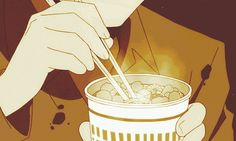 Are you down for some homemade Cup o' Noodles? | 29 Times Anime Mastered This Whole Food Thing