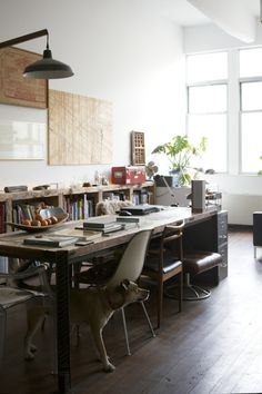 Huey's apartment in Brooklyn Industrial Interior, Apartment Inspiration, Home, Apartment Dining Room, Living Design, Room Set, Interior, Man Of The House, Studio Loft Apartments