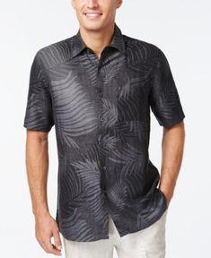 Tasso Elba Linen Leaf Jacquard Short-Sleeve Shirt, Only at Macy's - Black XXL