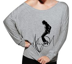 Michael Jackson King of Pop Inspired Women's Signature Off The Shoulder Long Sleeve 8850 from SamSamDesigns on Etsy. Michael Jackson Outfits, Michael Jackson Party, Michael Jackson Merchandise, Michael Jackson Costume, Michael Love, Jackson Family, Funny Shirts, Long Sleeve Shirts, My Style