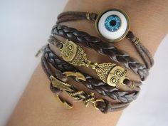 Combined Bracelet Antiqued Bronze Anchor Bracelet by WearingPretty, $7.99