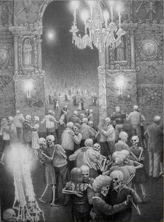 Skeleton's Ball- Laurie Lipton detailed drawings.