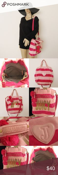 """Juicy Couture Velour Bag Authentic Juicy Couture Velour Bag. Good condition. Has MINOR STAINS from normal use. Inside of the bag is clean. Please see pictures carefully before buying. Sold as is! Materials: 80% Cotton/20%Polyester Dimensions: 13""""H x12""""W x 4""""D, strap drop 18"""", handle 6"""" ⚜❌SWAP❌TRADE ⚜✔️❤️Bundles📦 ⚜✔️Clean/Smoke-free/pet-free home Juicy Couture Bags Satchels"""
