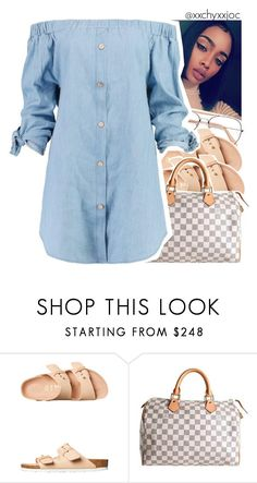 """Jennifer x Trinidad Cardona"" by xxchyxxjoc ❤ liked on Polyvore featuring Birkenstock, Louis Vuitton and Boohoo"