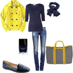yellow and navy outfit, created by schatzibags on Polyvore