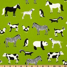 Menagerie Assorted Animals Lime Green by by BelloBerryFabricShop