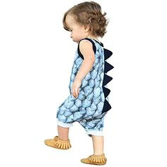 c1eddffb0ad9 Vicbovo Clearance Sale Baby Boy Girl Adorable Dinosaur Sleeveless Jumpsuit  Romper Summer Outfit Clothes (Blue