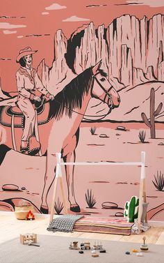 Introduce a cool new theme to your child's space that's inspired by the American Wild West with this cowgirl wallpaper. Playroom Wallpaper, Kids Wallpaper, Comics Vintage, Vintage Comic Books, Horse Wallpaper, Sunset Wallpaper, Cow Girl, Monument Valley, Arizona