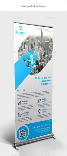 Buy Corporate Roll-up Banners by Mugli on GraphicRiver. Corporate roll-up banners template. This layout is suitable for any project purpose. Very easy to use and customise. Pull Up Banner Design, Standing Banner Design, Pop Up Banner, Rollup Design, Company Banner, Standee Design, Corporate Profile, Retractable Banner, Banner Stands