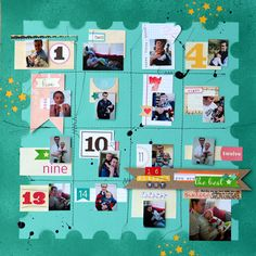 stitch a grid with sewing machine. punch out stars and back without contrasting color. mini-photos with #'s. minimal journaling.