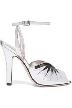 Heel measures approximately 110mm/ 4.5 inches Silver mirrored-leather, black leather Buckle-fastening ankle strap Made in Italy
