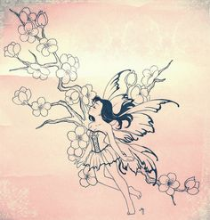 Cherry Blossom Fairy Tattoo- For Ashley