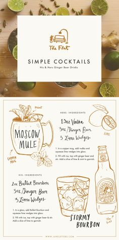 The Flat: Illustrated Simple Ginger Beer Cocktail Recipes.