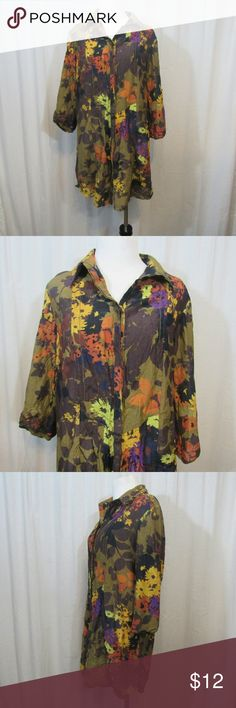 """Coldwater Creek Multi Color Floral Long Top M Brand: cold water creek  Size: M Material: 72% Cotton 28% silk  Care Instructions: Machine Wash  Bust:  38"""" Sleeves: 16"""" Shoulders:15"""" Length: 32""""   All clothes are in excellent used condition. No tears, stains or holes unless otherwise I noted.   P19 Coldwater Creek Tops Blouses"""
