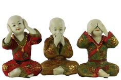 3 Piece Resin Meditating Monk No Evil Figurine Set