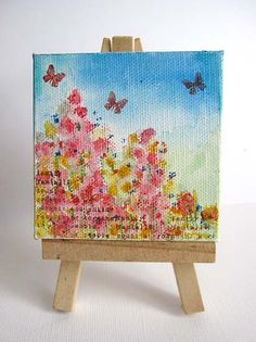 Oh my goodness! I am in awe of Daniela Dobson. She made this tiny canvas with watercolor crayons and Technique Tuesday stamps.