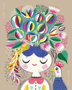 A Blooming Mind.. - limited edition giclee print of an original illustration (8 x 10 in)