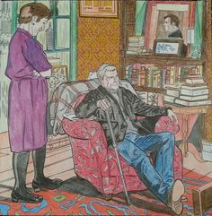 John and Mrs Hudson colouring book-my OCD is showing... everything is colour correct including the books in the shelves an yellow glass (which kinda looks green on this pic) on the green book shelf the mirror behind the chair has gold in it as it is reflecting the gold filigree of the wallpaper.