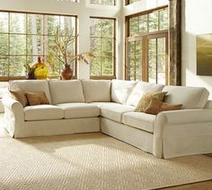 Pb Comfort Slipcovered 3 Pieced L Shape Sectional Traditional Sofas