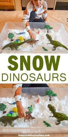 SNOW DINOSAURS by HAPPY TODDLER PLAYTIME Check out this amazing winter sensory play idea using snow and dinosaurs! It's a fun way to entertain your toddler or preschooler indoors or out after a big snowfall! Sensory Activities Toddlers, Dinosaur Activities, Snow Activities, Winter Activities For Kids, Sensory Bins, Indoor Activities, Science For Kids, Sensory Play, Infant Activities
