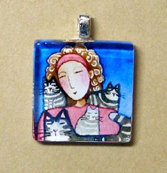 SALE... Cat Mom Wearable Art Glass Pendant by SusanFayePetProjects, $7.00 #cat #jewelry #sale
