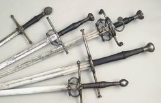 Some pre-Renaissance blades. Most of these are hand-and-a-half swords, or bastard swords, meant for both slashing and stabbing with either one or two hands. A good, versatile sword type, useful in many situations.