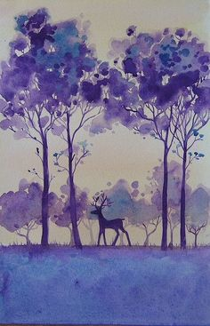 Original painting of a stag in a forest done in a stylised format inspired by Art Deco designs. Watercolor Trees, Watercolor Landscape, Watercolor Paintings, Bird Paintings, Indian Paintings, Watercolor Portraits, Abstract Paintings, Watercolours, Foto Art