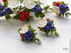 """Купить Серьги """"Ягодно-цветочные"""" - разноцветный, ягодные серьги, ягоды и листья, цветы ручной работы"""