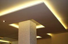 White Zig Zag Motive Feat Cream Lighting False Ceiling Ideas In ...