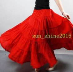 Bohemia Women Cotton Dance Long Skirt Pleated Casual Maxi Dress Elastic Wasit