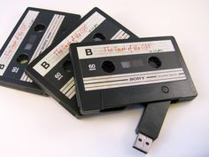 Load the Cassette USB Flash Drive up with hundreds of songs from your music library, make mix tapes of your own music for your friends and loved ones. GetdatGadget.com/cassette-usb-flash-drive-mixtape-digital-age/