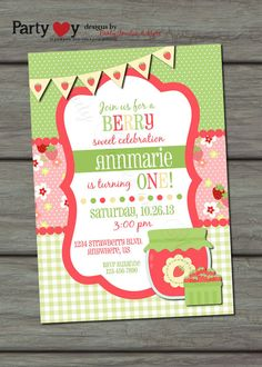 Hey, I found this really awesome Etsy listing at https://www.etsy.com/listing/108348337/strawberry-birthday-invitation-berry