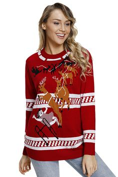d265f9adc26b5b Crew Neck Long Sleeve Reindeer Jump Over Ugly Christmas Sweater Red Women  Sleeve, Red Sweaters