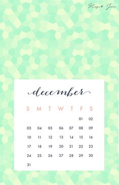 December - Free Calendar Printables 2017 by Nazuk Jain