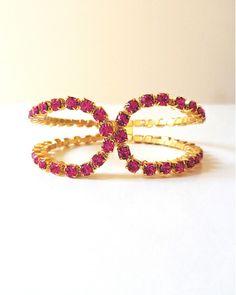 The Fuschia Crystal Fix Cuff by JewelMint.com, $54.00