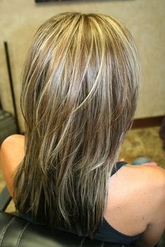 Fall Brunette with blonde highlights. Kenra 10vol+lightener, all over Demi permanent 5B/7N.